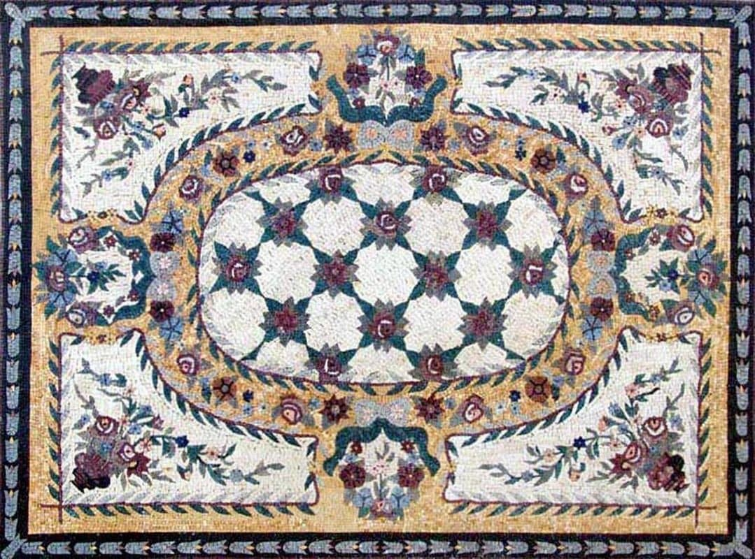 Rectangular Rug Marble Mosaic Floor Decor Pic