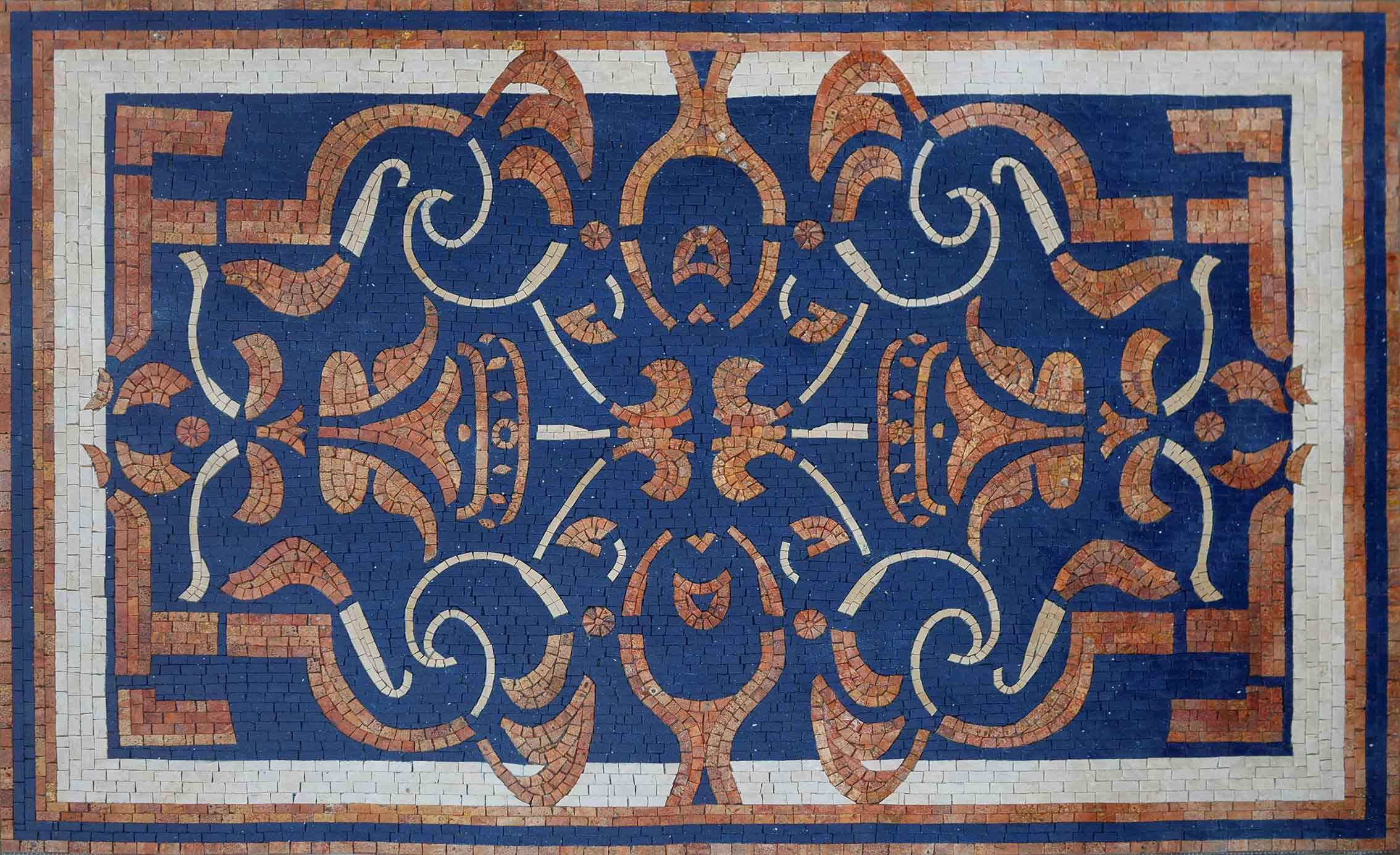 Rustic Geometric Pattern On White And Blue Mosaic Rug Pic