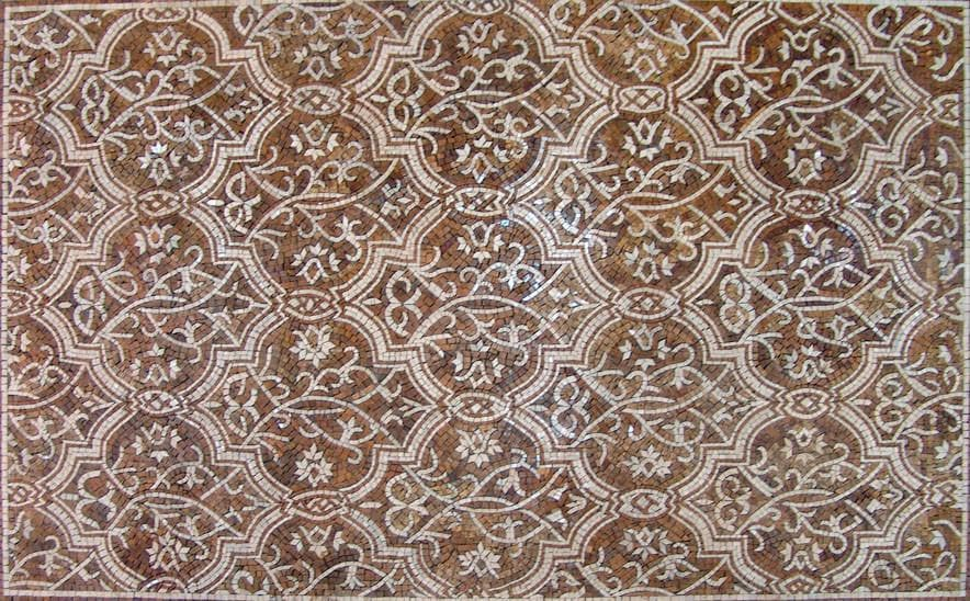 Geometric Marble Mosaic Rug Floor Inlay Pic