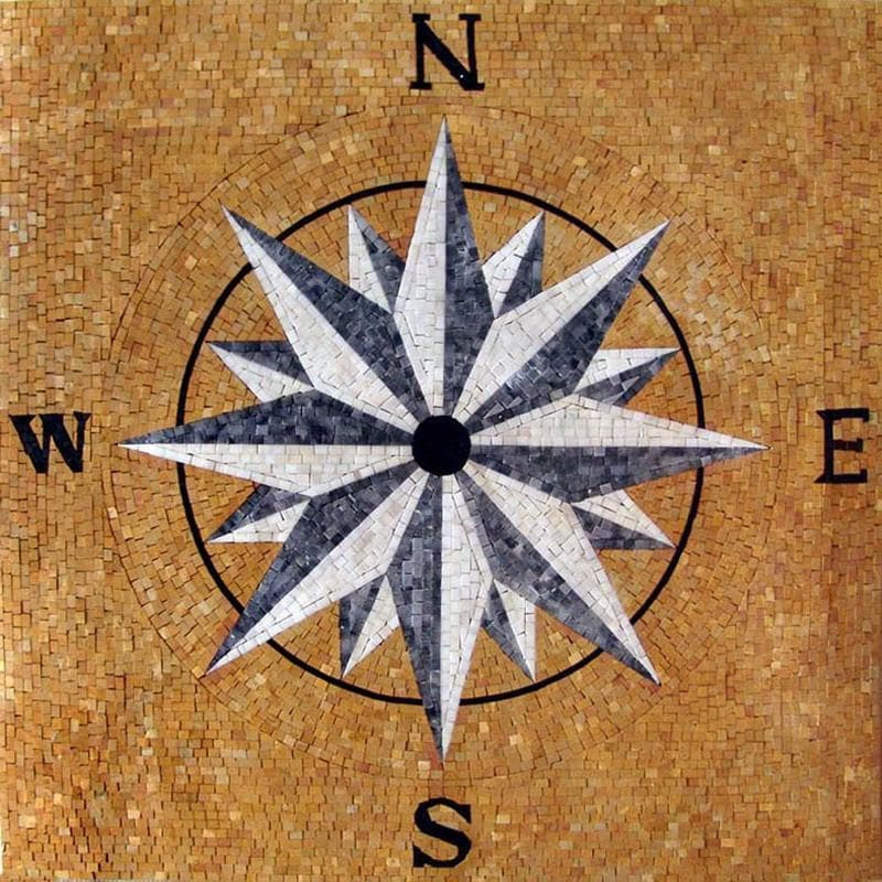 Compass Stone Mosaic - the Wind Rose