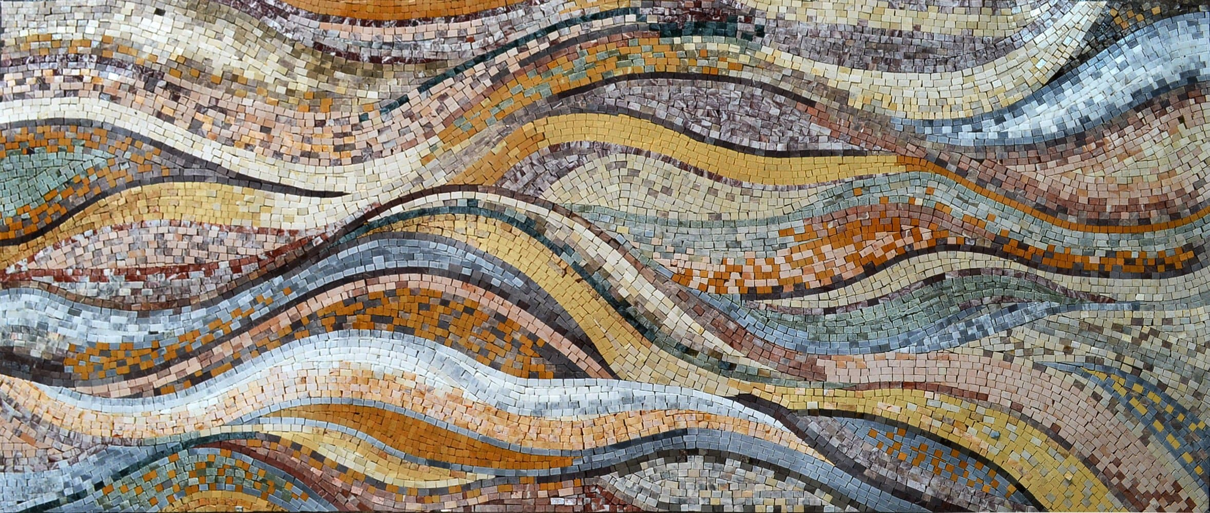 Waves With Autumn Colors Marble Mosaic Pic