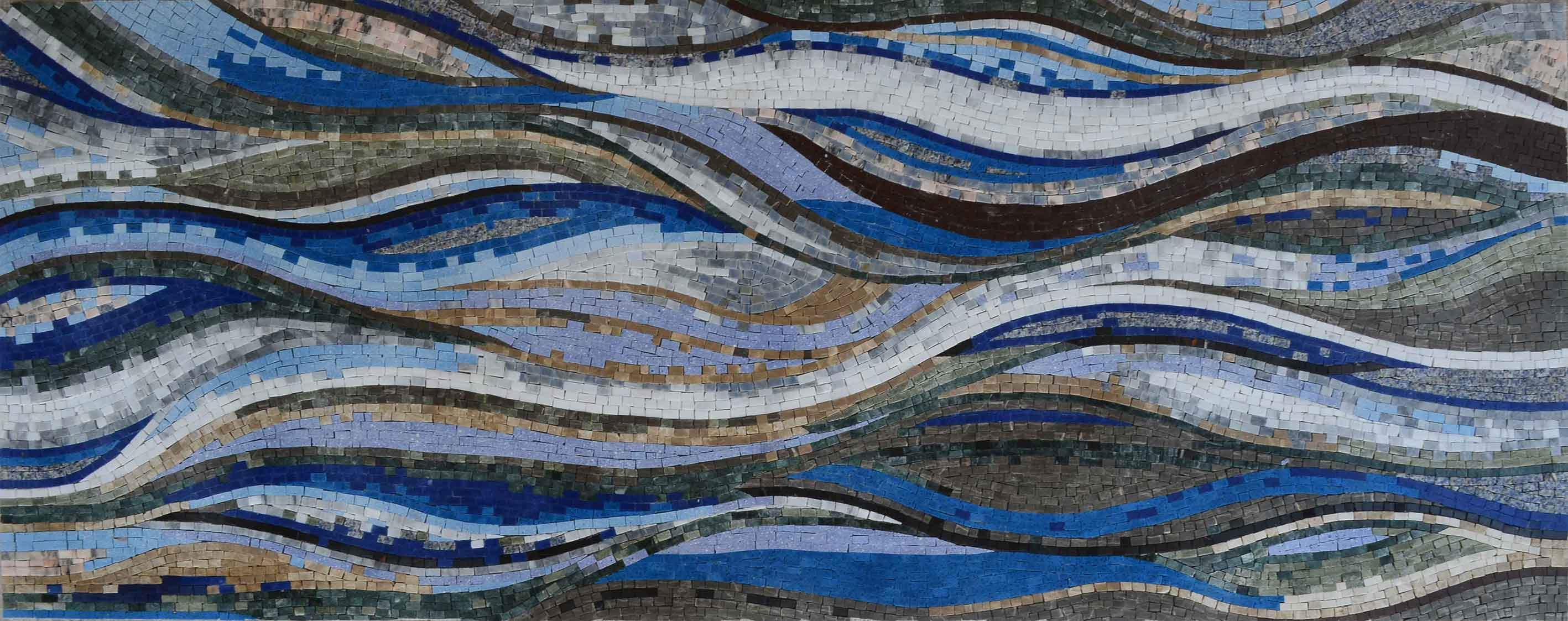 Colorful Waves In Shades Of Blue Mosaic Art Pic
