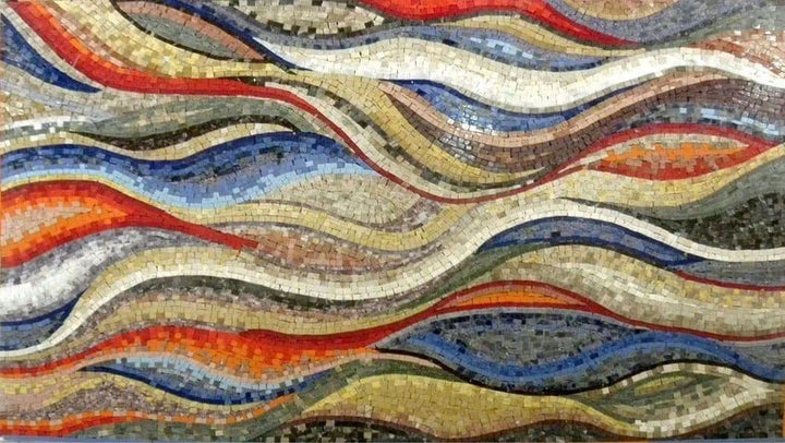 Colorful Wavy Shades Marble Mosaic Wallpaper or Floor Art