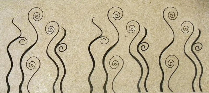 Wavy Swirl Lines Mosaic Marble Design