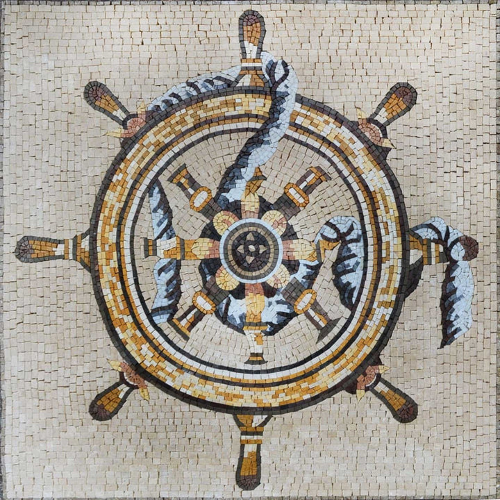 Sailor Wheel in Mosaic Marble
