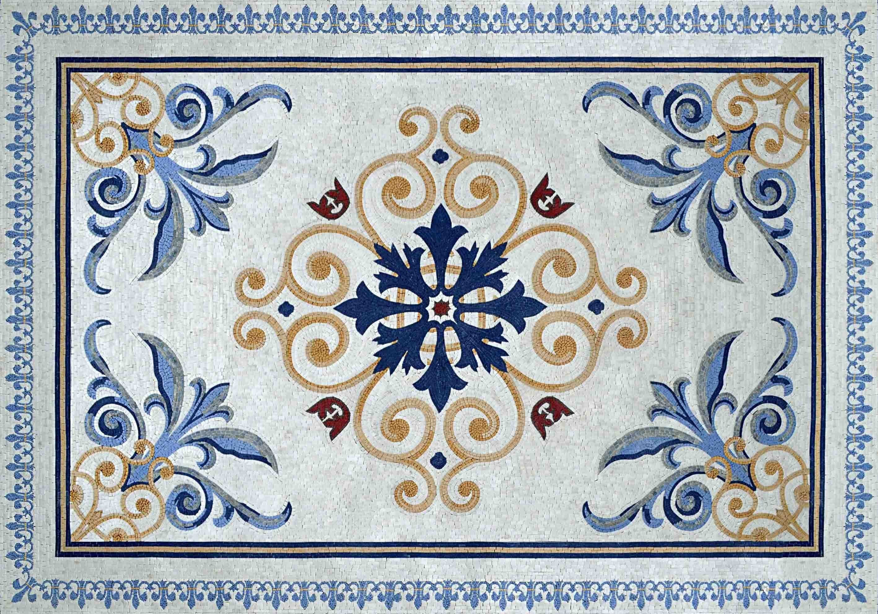 Floral Geometric Pattern Marble Mosaic Rug Pic