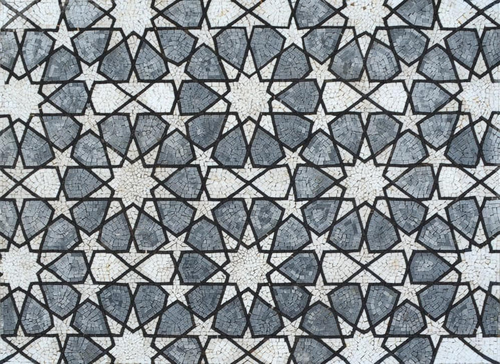 Geometrical Flowers & Stars Pattern - Arabesque Mosaic