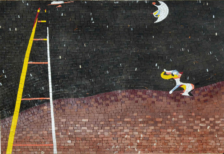 Dog Barking at the moon - Mosaic Reproduction of Joan Miro Artwork