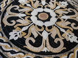 Tanned Flowers and Weaved Black And Gold Ornaments Mosaic Medallion