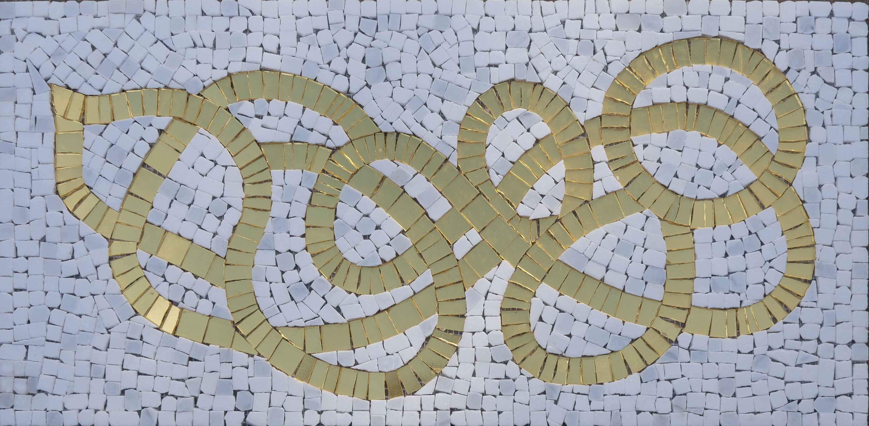 Golden Path On White Marble Mosaic Wall Art