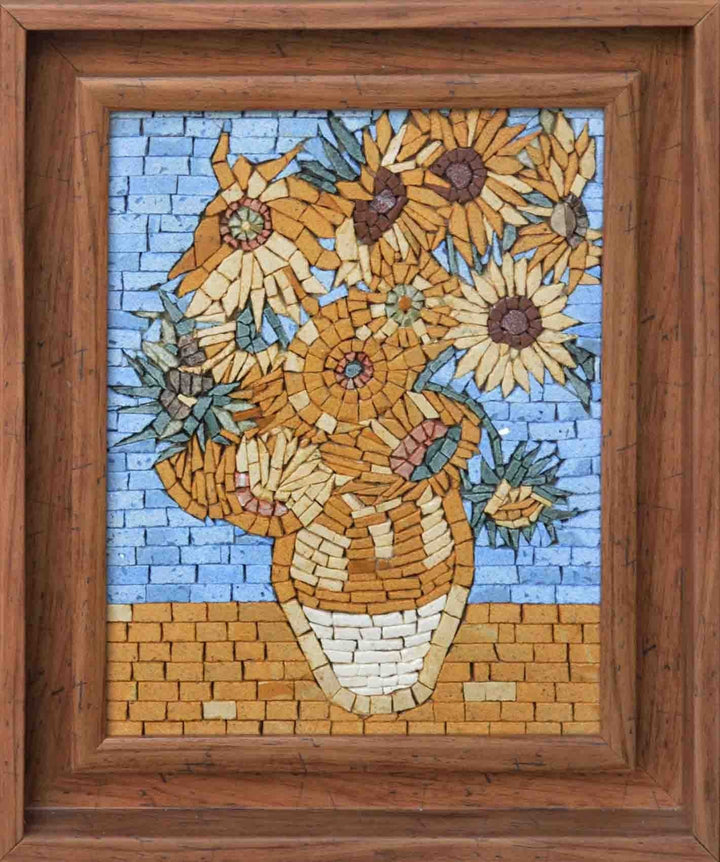 "Vincent Van Gogh Sunflowers""  Framed- Mosaic Reproduction"""