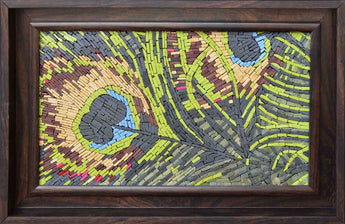 Peacock Feather Micro Mosaic Stone Artwork Mural