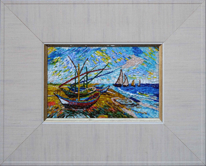 Fishing Boats On The Beach Mosaic Art Reproduction