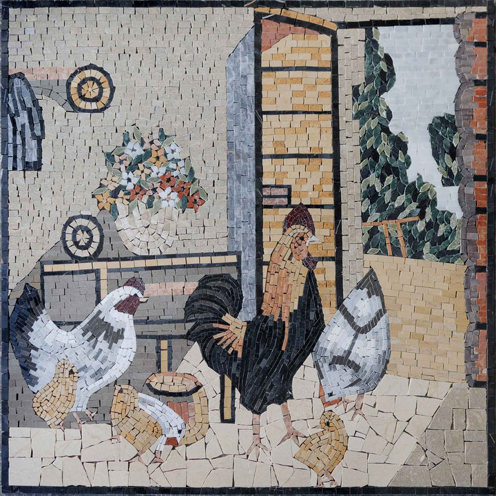 Pollo e Gallo Mosaic Artwork
