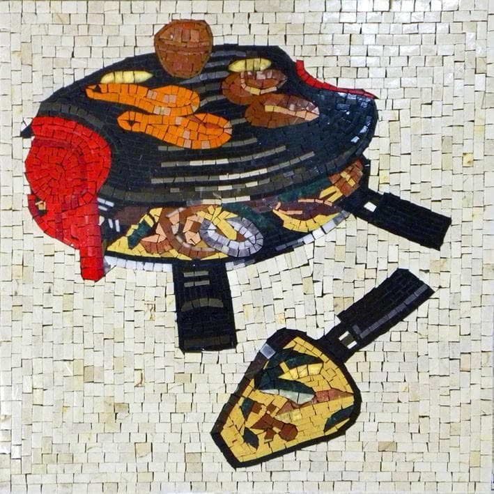 Kitchen Backsplash - Charcoal Grills Mosaic
