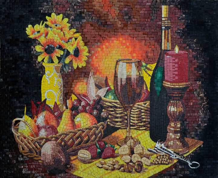 Mosaic Mural- Still Life Wine and Fruits