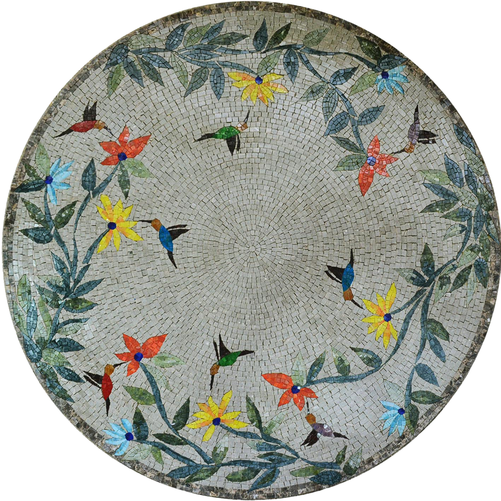 Mosaic Art Medallion - Birds and Trees