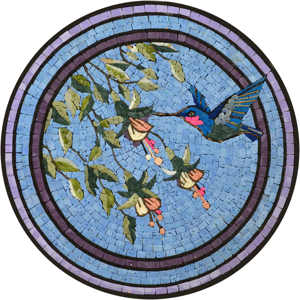 Mosaic Medallion Art Tile - Hummingbird