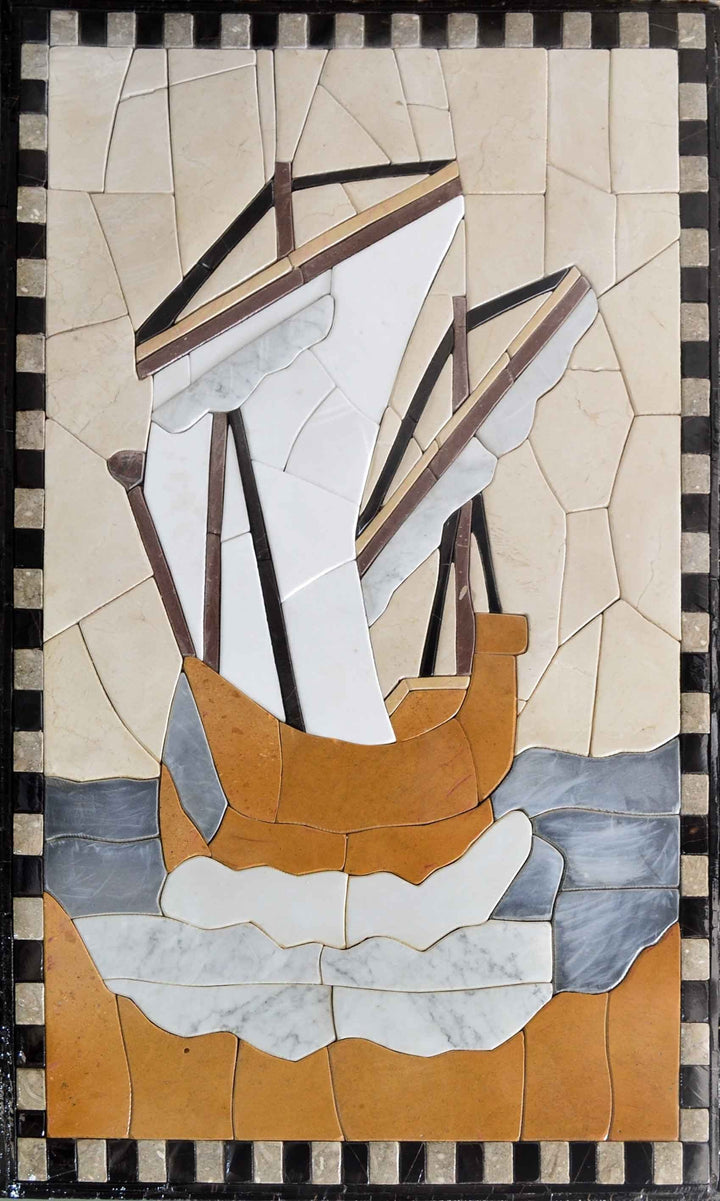 Sailing Boat in Petal Tiles