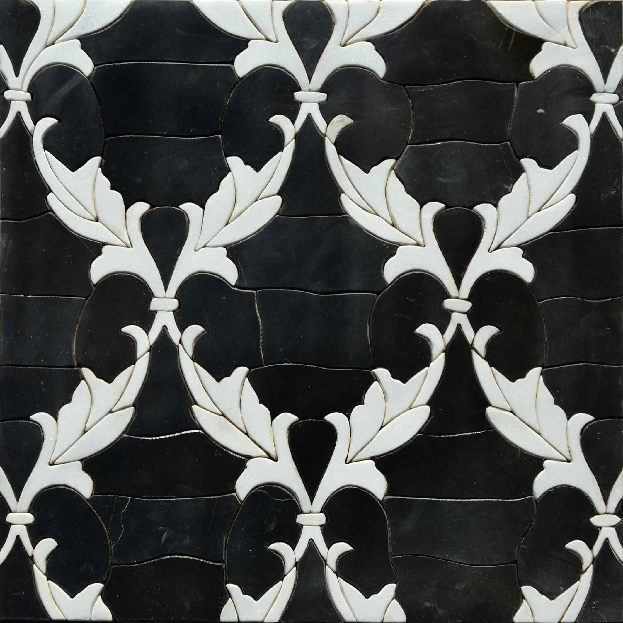 Floral Mosaic Black and White Wallpaper