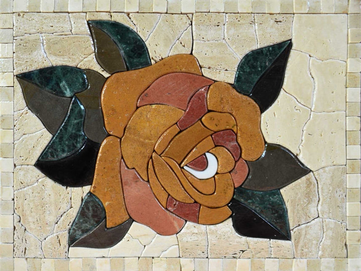 Flower Mosaic Wall Art - Earth Rose