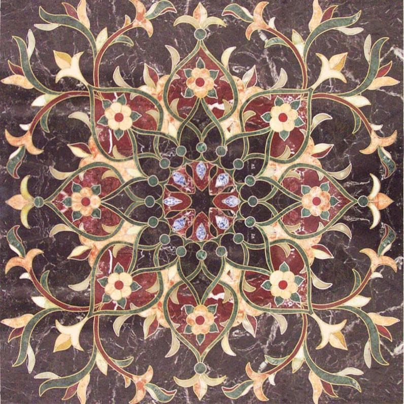Floral Geometric Square Tile - Arabesque Mosaic