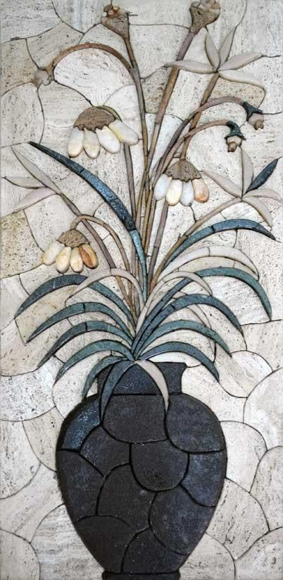 Mosaic Wall Art The Pot Of Flowers Pic