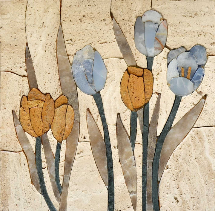 Mosaic Tile Art - Tulip Blossoms