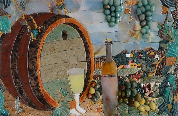 Mosaic Art - Barrel Wine Countryside