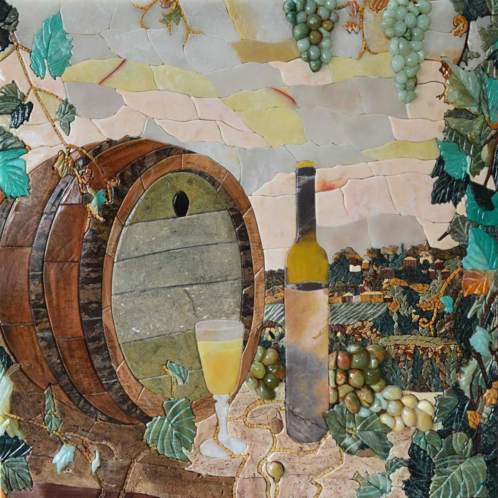 Mosaic Kitchen Backsplash- Winery Scene