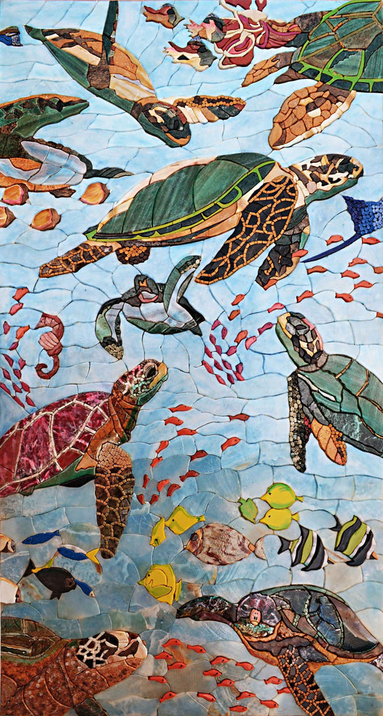 Mosaic Patterns Sea Turtles And Fish Marine Life