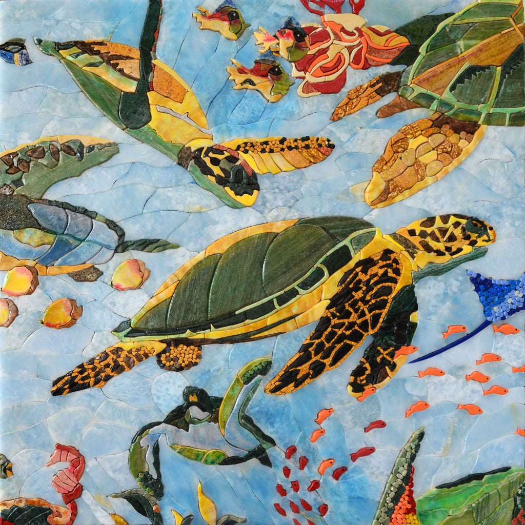 Sea Turtles and Fish Petal Marble Mosaics Handmade