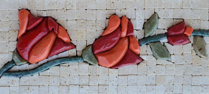 Stone Art Mosaic - 3D Red Tulips