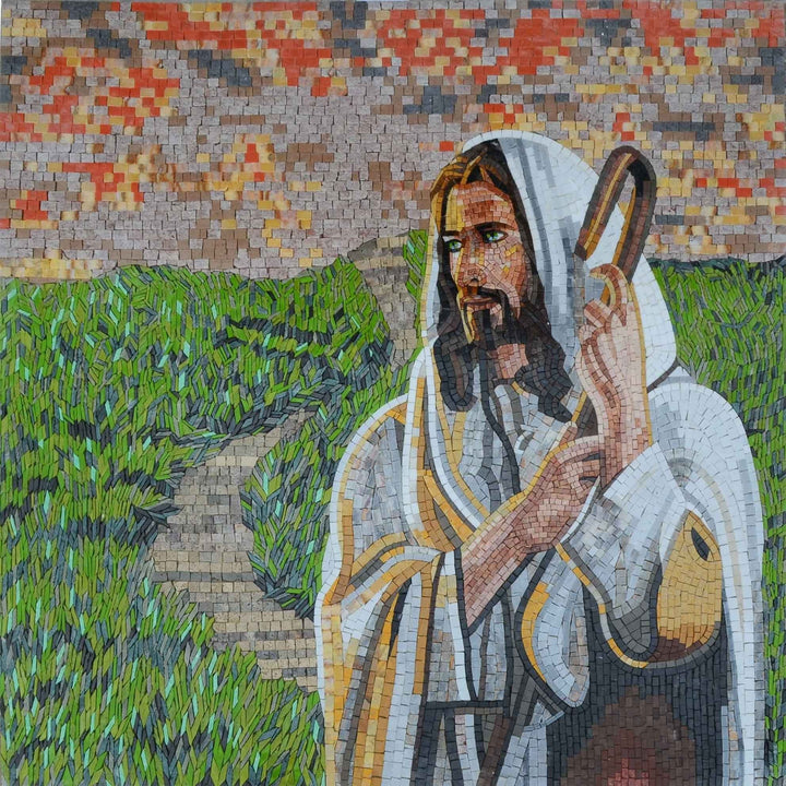 Modern Mosaic Icon - Jesus The Shepherd