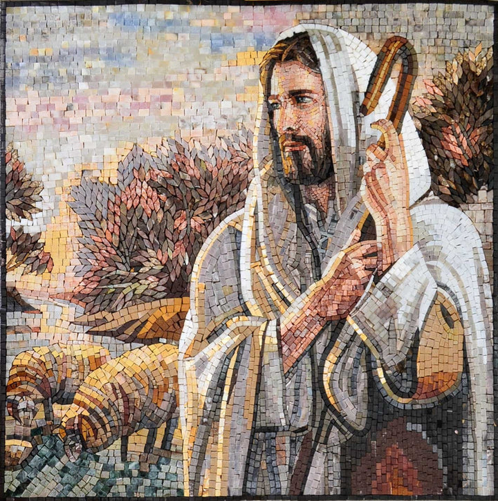 Stone Art Mosaic Jesus The Shepherd