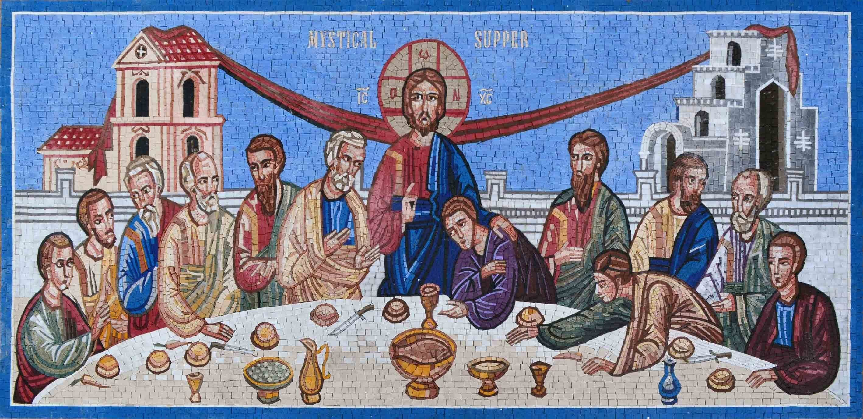 Mystical Supper Marble Mosaic Christian Art