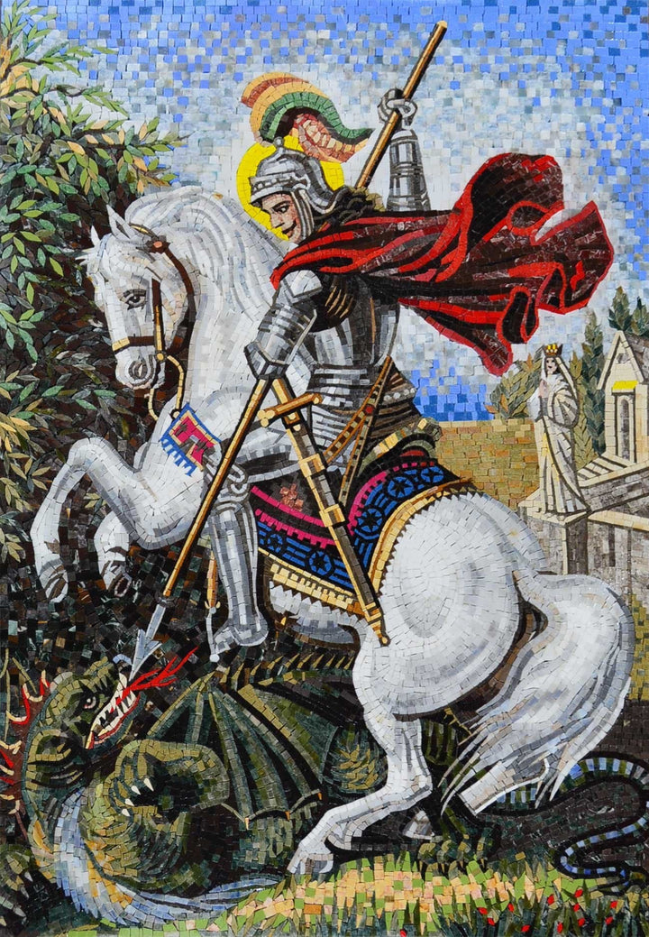 St. George Religious Icon Mosaic For Church