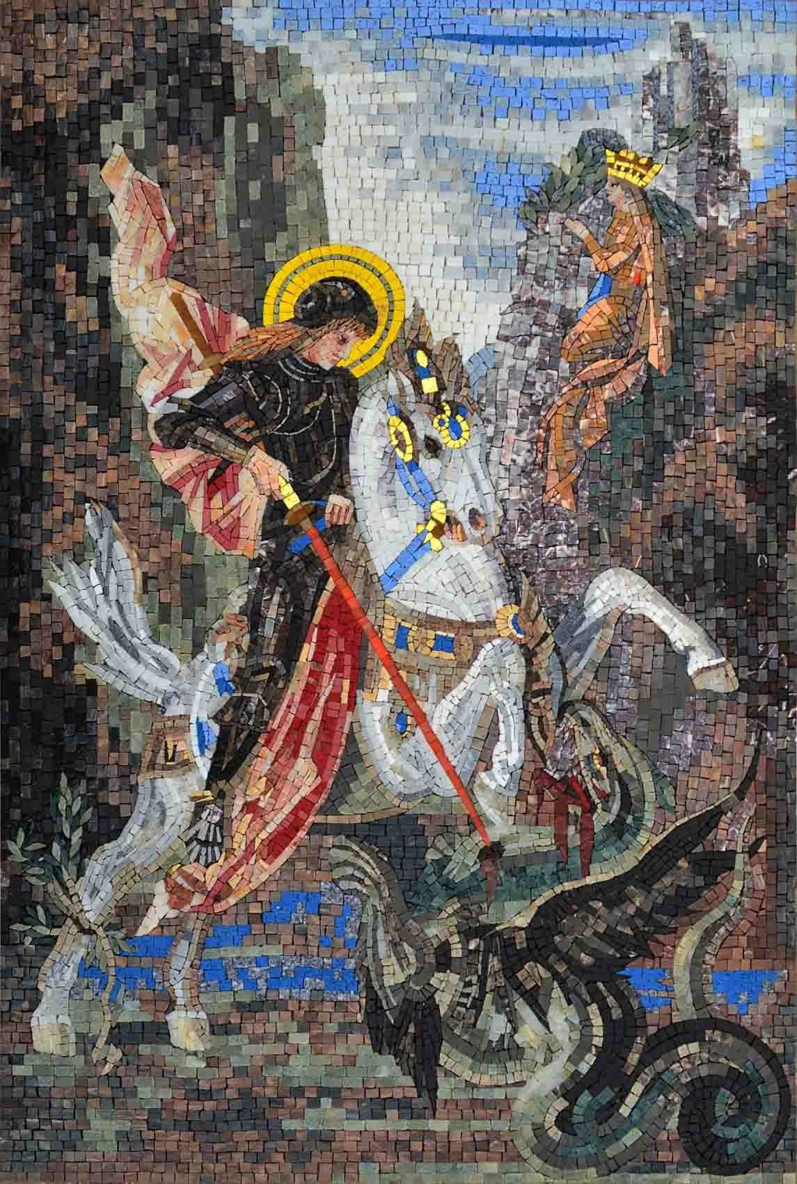 Icon Mosaic Portrait Of St George Pic