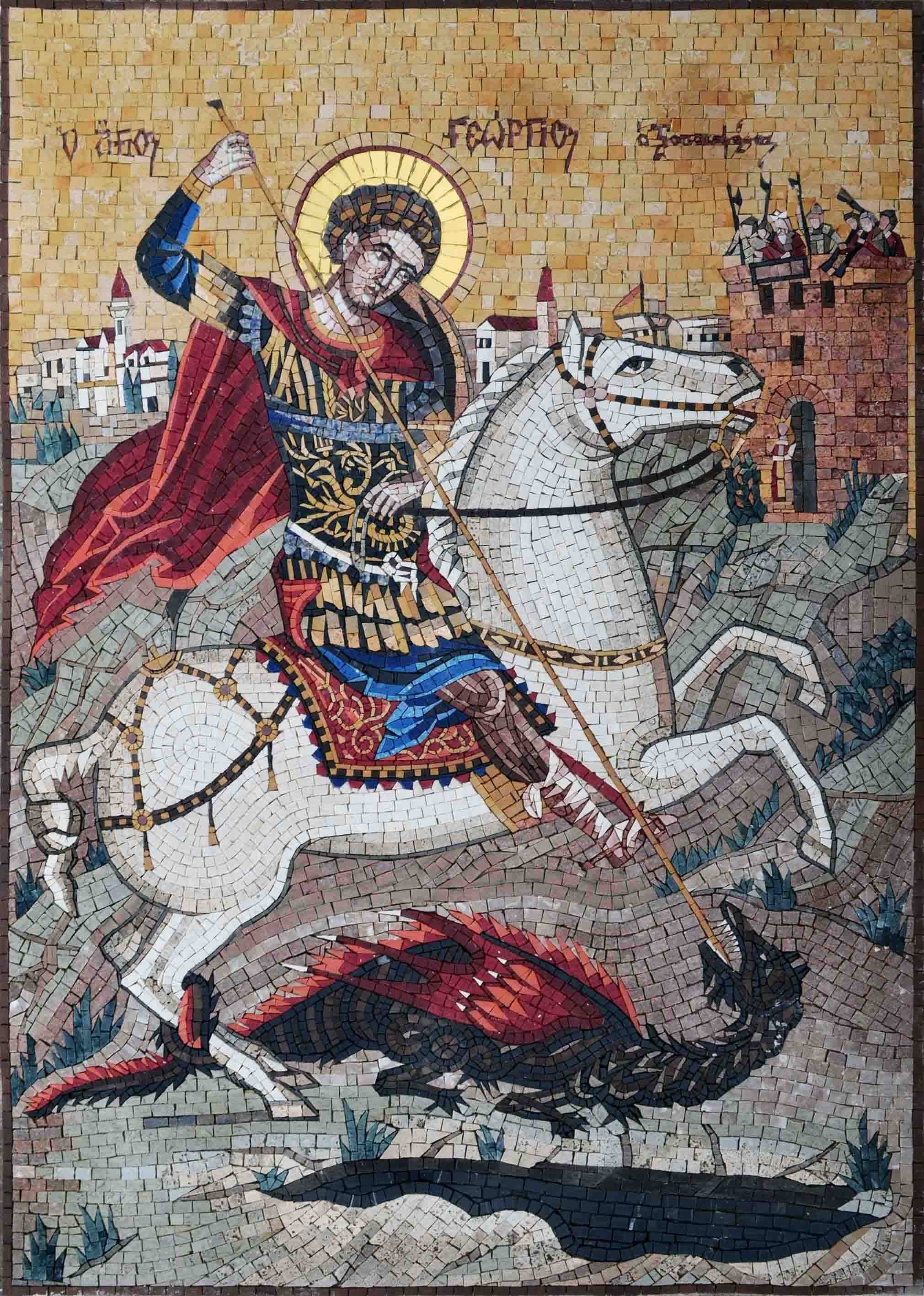 Religious Mosaic Saint George And The Dragon Pic