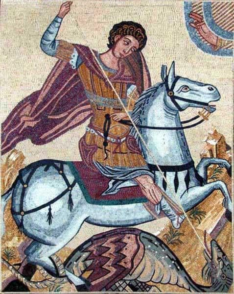 The Savior St George Stone Mosaic Art Pic