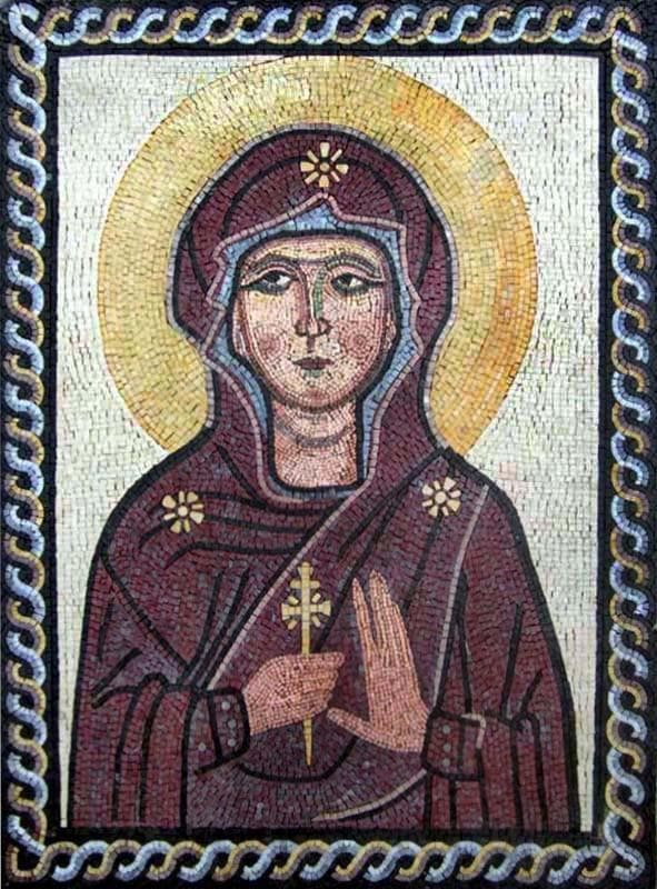 Saint  Mary and the Cross  Marble Mosaic