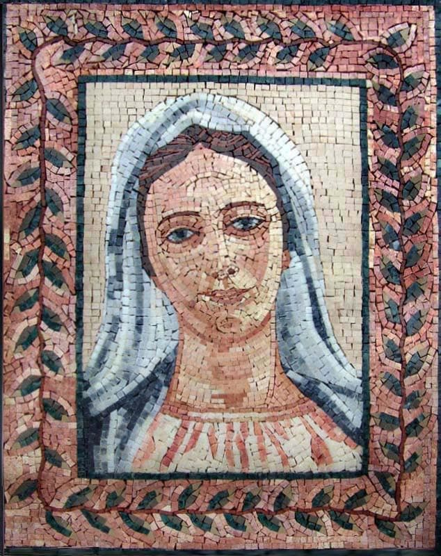 Virgin Mary Portrait Marble Frame Mosaic