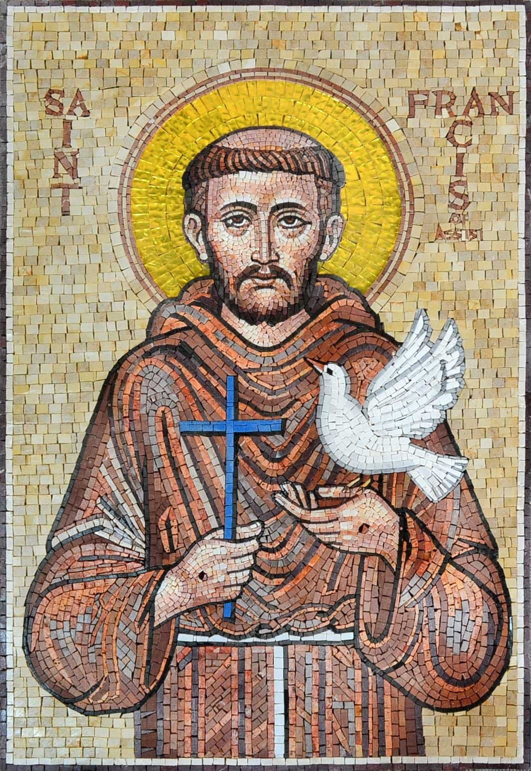 St Francis Religious Marble Mosaic Pic
