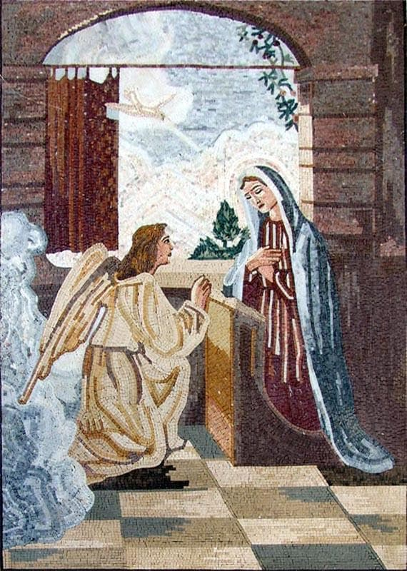 Virgin Mary And Gabriel Mosaic Mural Icon Pic