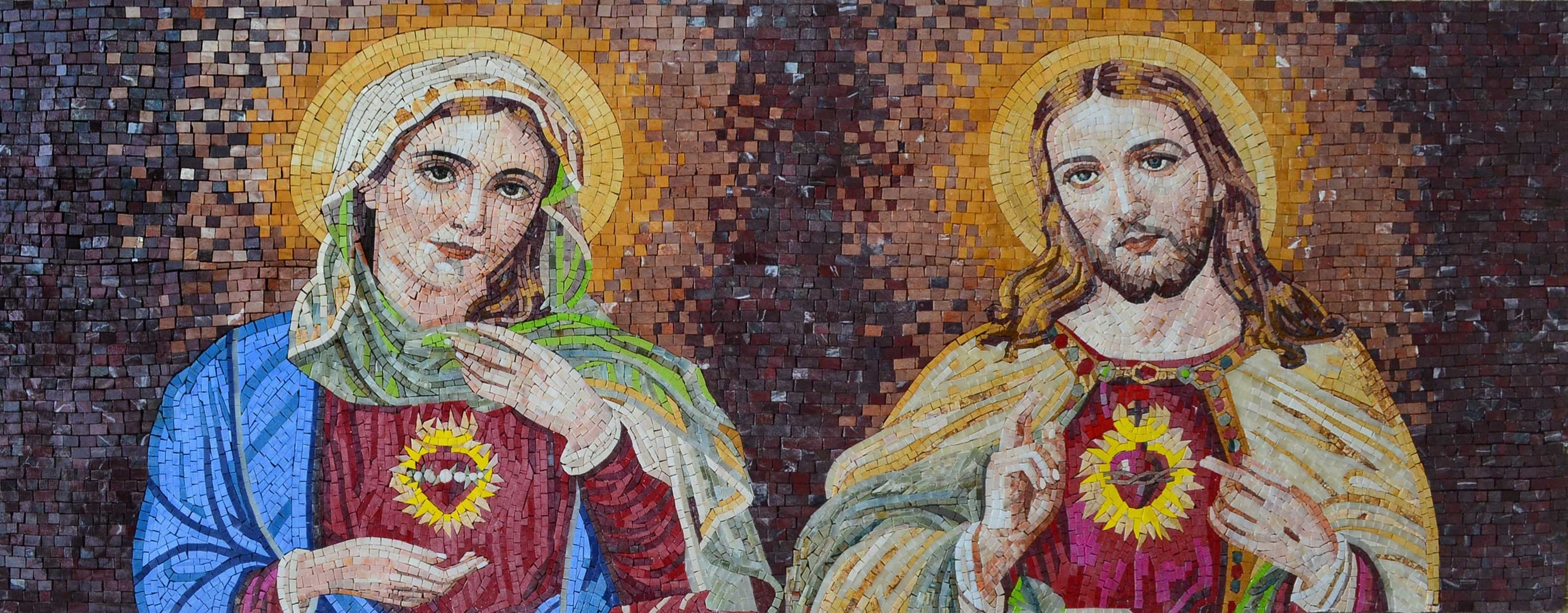 Virgin Mary And Jesus Sacred Hearts Religious Marble Mosaic Pic