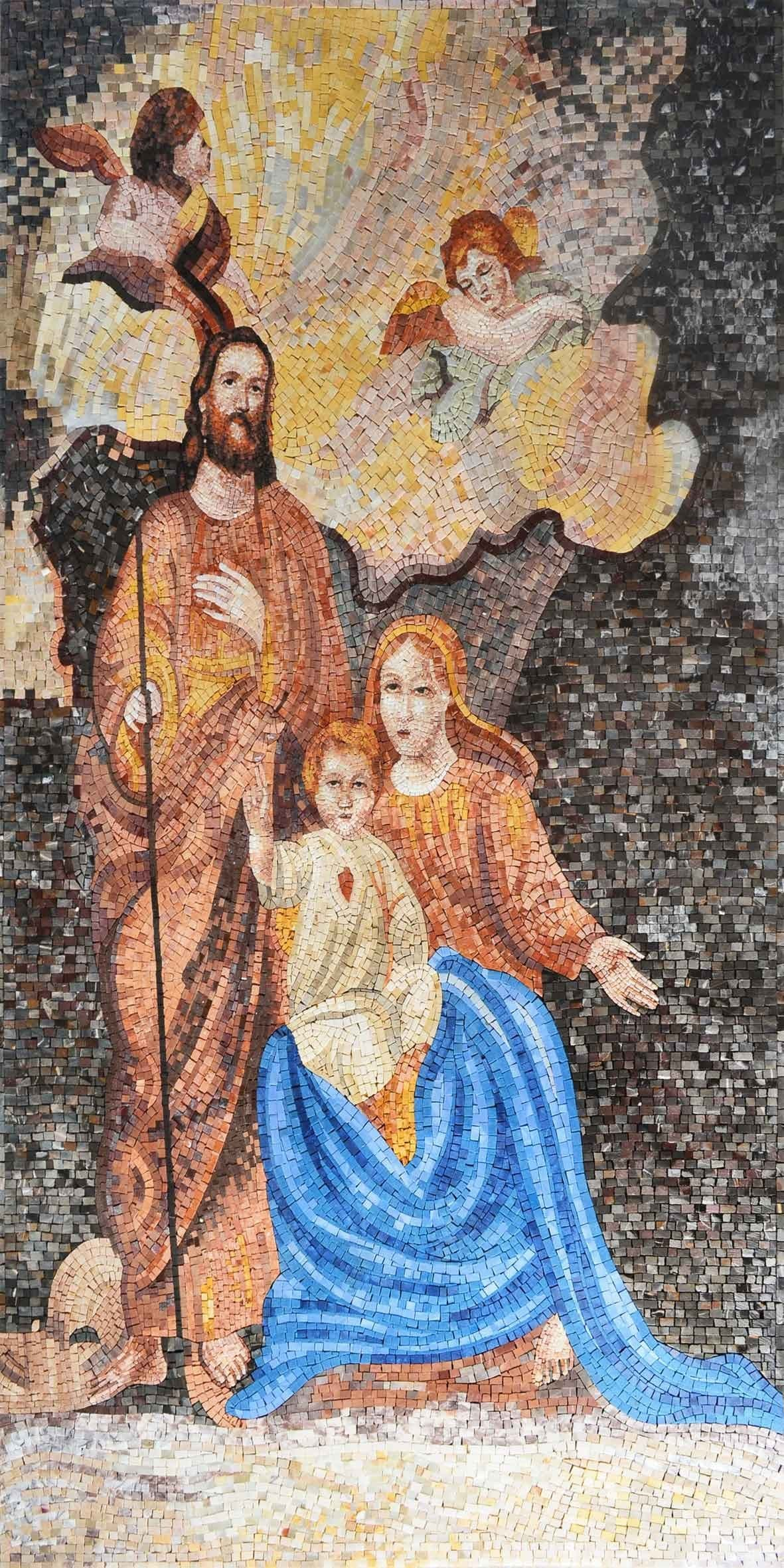 Jesus Mary And Joseph Mosaic Icon Pic