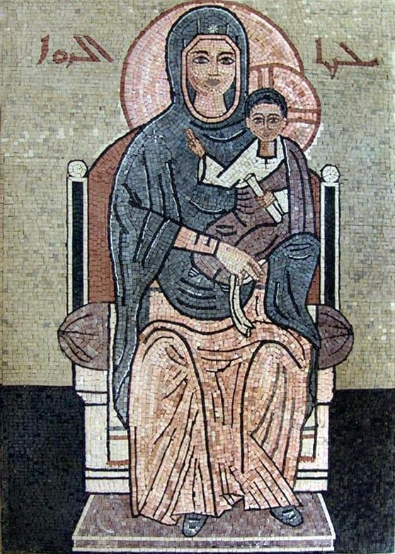 Iconic Mosaic of Jesus And Mary