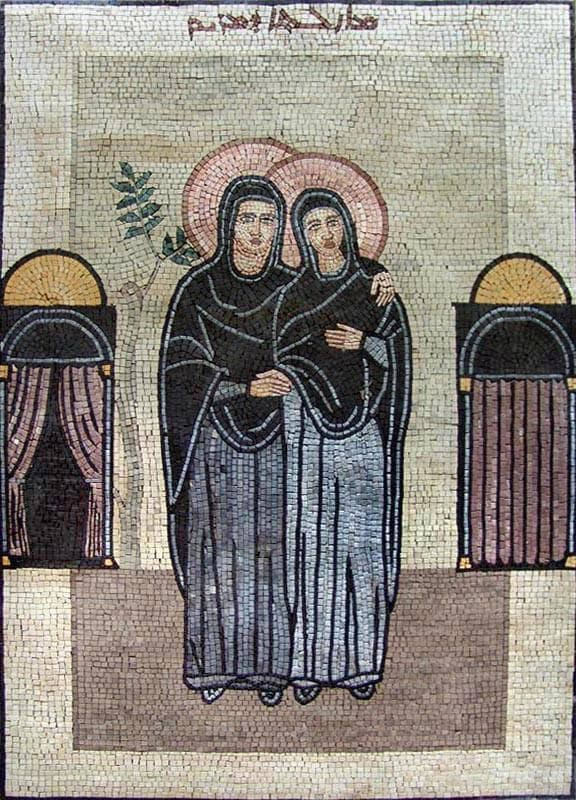 Virgin Mary and Elizabeth Icon Marble Mosaic Art