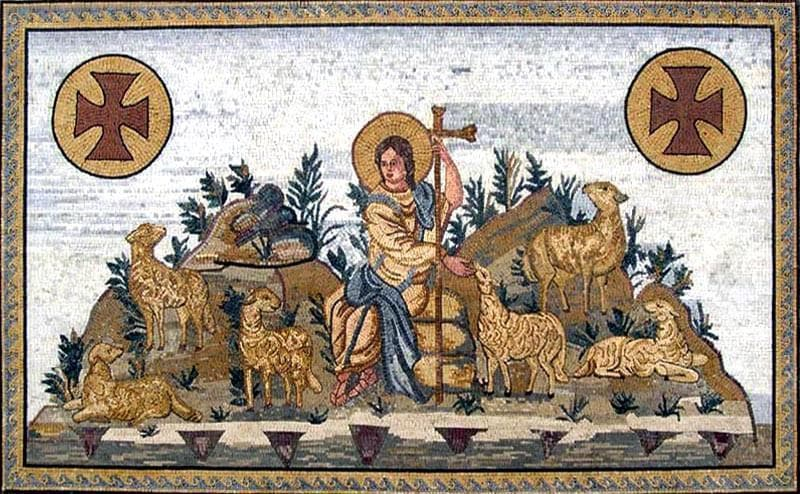 The Good Shephard Religious Iconic Mosaic Pic