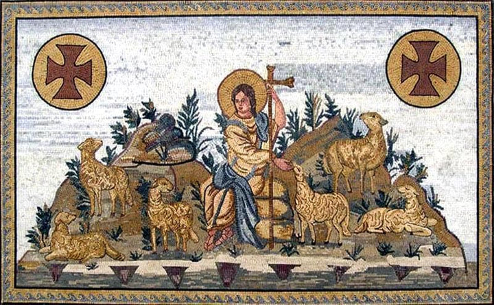 The Good Shephard Religious Iconic Mosaic